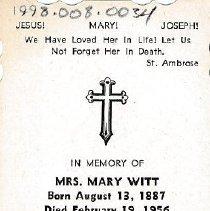 Image of Card, Prayer, Mary Witt