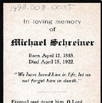 Image of Card, Prayer, Michael Schreiner
