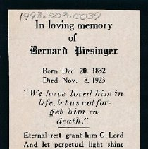 Image of Card, Prayer, Bernard Piesinger