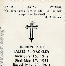 Image of Card, Prayer, James Yackley