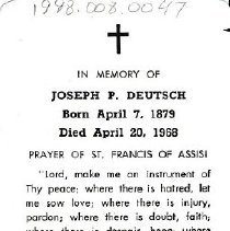 Image of Card, Prayer, Joseph Deutsch