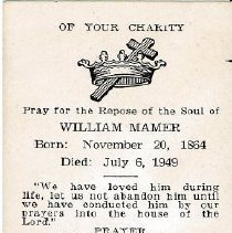 Image of Card, Prayer, William Mamer