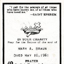 Image of Card, Prayer, Mary Braun