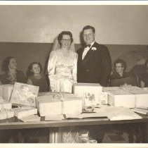 Image of Print, Photographic, Dennis and Luella Schmitt at their reception, 1952