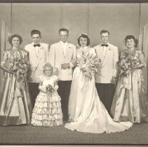 Image of Print, Photographic, Mr.&Mrs. Leander Gansen's wedding party, 1951