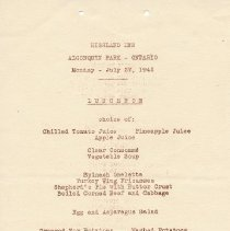Image of Highland Inn Luncheon Menu
