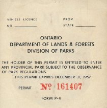 Image of 1957 Seasonal Vehicle Permit