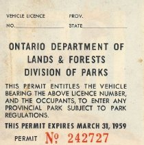 Image of 1958 Seasonal Vehicle Permit - back