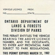 Image of 1961 Seasonal Vehicle Permit - back