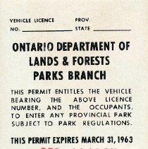 Image of 1962 Seasonal Vehicle Permit - back