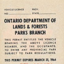 Image of 1963 Seasonal Vehicle Permit - back