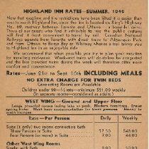 Image of 1946 Highland Inn Rates Pamphlet