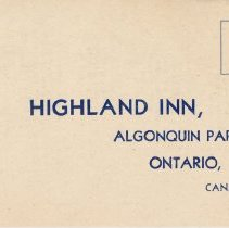 Image of Reservation Card - Highland Inn