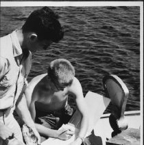 Image of 4548 - Recording data for research purposes on fish caught in Lake Lavielle