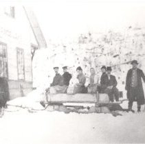 Image of 29 - Sleighing party gathered together at Canoe Lake Station.