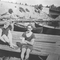 Image of 47 - Mr. and Mrs. H.J. Hancock relaxing in the sunshine on the dock at Hotel Algonquin.