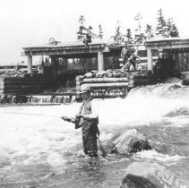 Image of 91 - New York party fishing below the logging dam on Annie Bay.