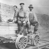 Image of 109 - Grand Trunk Railway section gang riding a Casey Jones car at Canoe Lake Station, May 14, 1916.