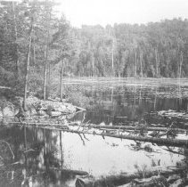 Image of 159 - Lake with rocky shore and lily pads.