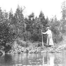Image of 202 - Mrs. Wollett on beaver dam.