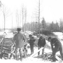 Image of 1919 - Cutting cordwood in the spring.