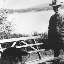 Image of 284 - J.W. Millar with beaver for the Lands and Forests exhibit at the Canadian National Exhibition.