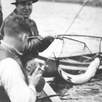 Image of 1932 - A. Clark landing a lake trout in Opeongo Lake.