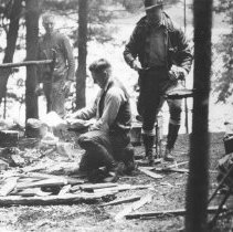 Image of 353 - Preparing a shore lunch at Sunnyside, Opeongo Lake.
