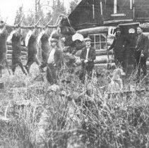 Image of 449 - Superintendent Millar (?) at hunt camp.