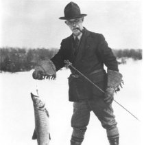 Image of 468 - Superintendent Millar with trout from Cache Lake.