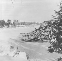 Image of General view of the softwood dump on the Amable Du Fond River, at Kiosk.