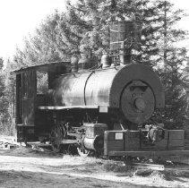 Image of 647 - Old time saddle back logging locomotive