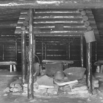 Image of 657 - The cooking utensils in the camboose shanty, Pioneer Logging Exhibit