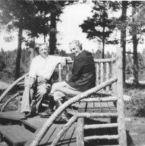 Image of 765 - Jessie Northway right, sitting on a bench with a friend.