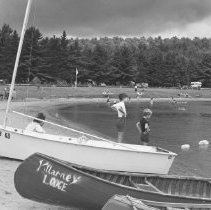 Image of 823 - On the beach at Lake of Two Rivers campground before the storm, Aug. 25, 1970.