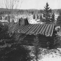 Image of 1963 - Camboose Camp, newly constructed, Pioneer Logging Exhibit.