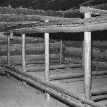 Image of 865 - Interior of Camboose Camp, Pioneer Logging Exhibit, August, 1960.