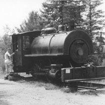 Image of 868 - Locomotive, Pioneer Logging Exhibit, 1963.