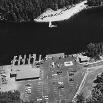 Image of 924 - Portage Store, aerial view, Canoe Lake, July 1963.