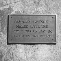 Image of 936 - Plaque - near Canisbay campground and picnic area, 1961.