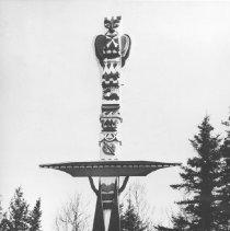 Image of 1019 - Tom Thomson Memorial Totem Pole, Canoe Lake, 1955.