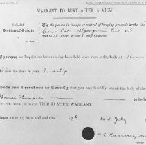 Image of July 17, 1917. - Burial Certificate for Tom Thomson.