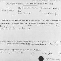 Image of 1021 - Coroner's warrant to take possession of Tom Thomson's body.