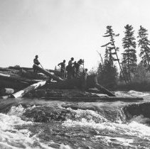 Image of 1112 - The summer flood piles the logs high and dry at Pig Pen chutes