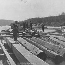 Image of 1118 - Raft of square timber, north of Mattawa on Seven League Lake