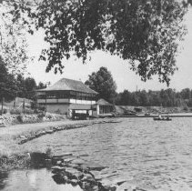 Image of 1973.2.6 - Highland Inn, Cache Lake, Dance pavilion and dock.