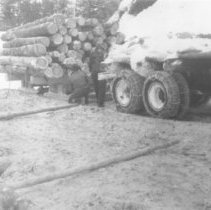Image of 1939 - Transporting logs by sleigh.