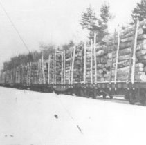 Image of 1339 - Load of logs on railway (O.A.P.A. line?)
