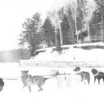 Image of 1344 - Dog team, infront of Bates' cabin, Opeongo. Aubrey Dunne (left) and George Heinzman (right)