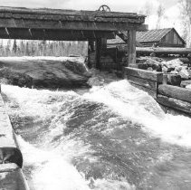 Image of 1939 - Old dam, Annie Bay, Opeongo, 1939.